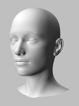 wlhite3d woman head on gray background. photo
