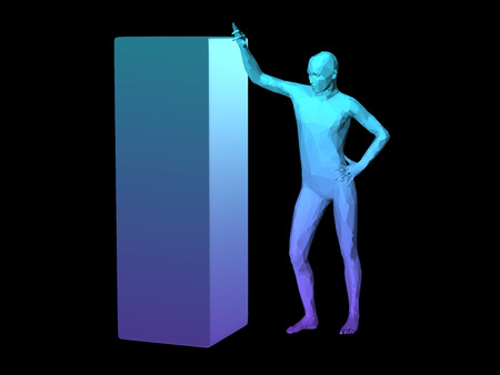 disperse: blue 3D abstract man body model standing by a cube. Stock Photo