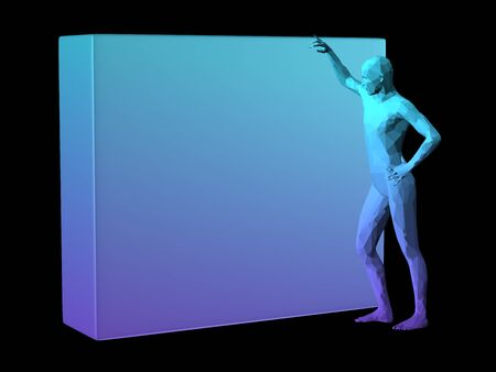 depend: blue 3D abstract man body model standing by a cube. Stock Photo