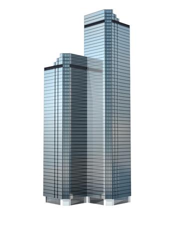 ツイン ビジネス超高層ビルが白い背景で隔離されました。