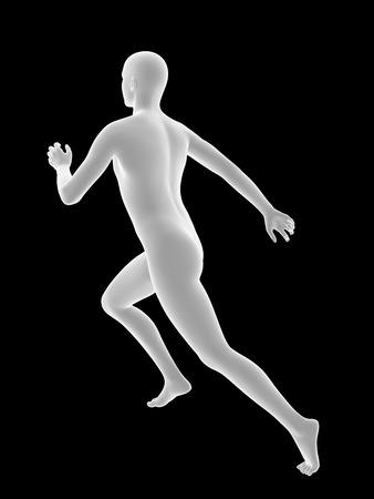 bosom: white 3D man runing on black background.