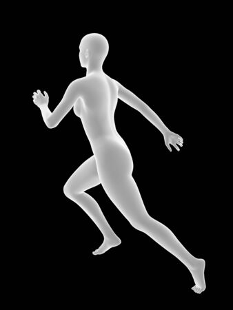 runing: white 3D woman runing on black background. Stock Photo