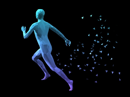 disperse: blue 3D abstract male body model running on black background.