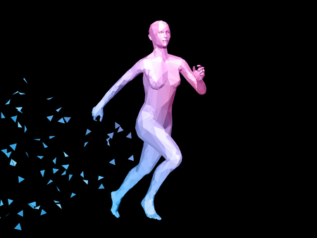 reverie: blue 3D abstract female body model running on black background.