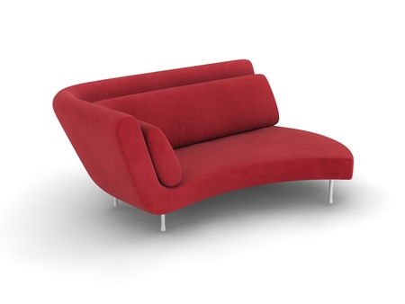 red sofa: red cloth sofa bed on white background. Stock Photo