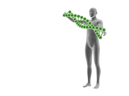 microcosmic: man and DNA isolated on white background.