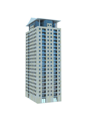 commercial building: single business skyscraper isolated on white background. Stock Photo
