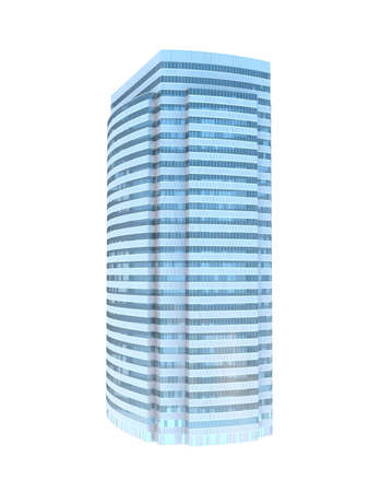 refraction: single business skyscraper isolated on white background. Stock Photo