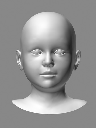 facial features: white 3d child head on gray background.
