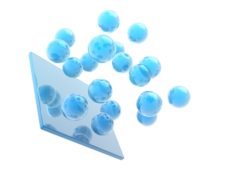 scatters: glass cube and spheres on white background. Stock Photo