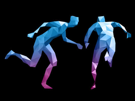 pugilism: colorful 3D abstract male body model running on black background.