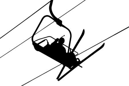 Silhouette of skier in the skilift photo