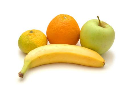 Apple, orange, banana and tangerine isolated on white Stock Photo - 552518