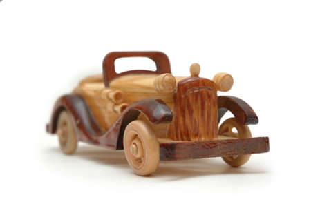 Wooden retro car model isolated on white Stock Photo - 552564