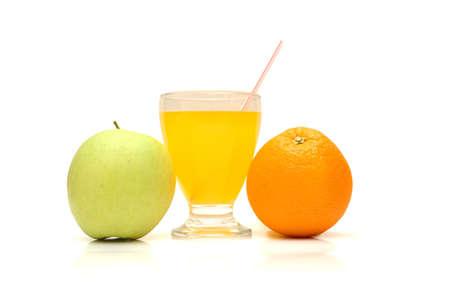 Apple, orange and juice with straw isolated on white photo