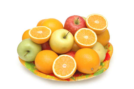 Various fruits in the tray isolated on white Stock Photo - 560875