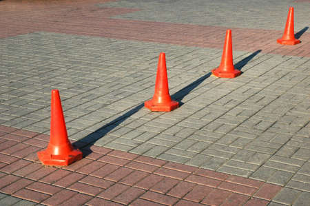Red cones aligned in row Stock Photo - 582813