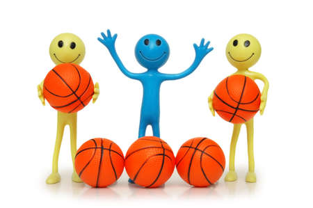 Smilies with basketballs isolated on white photo