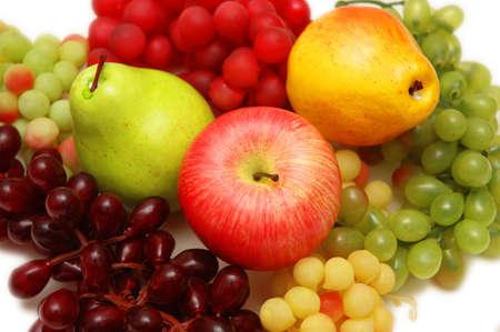 Various fruits  - grapes, apple, peaches photo