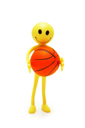 Smilie with basketball isolated on white Stock Photo - 602921