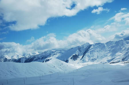 Winter mountains and blue sky Stock Photo - 602887