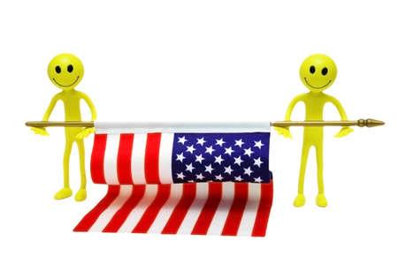 Two smilies holding US flag Stock Photo - 611505