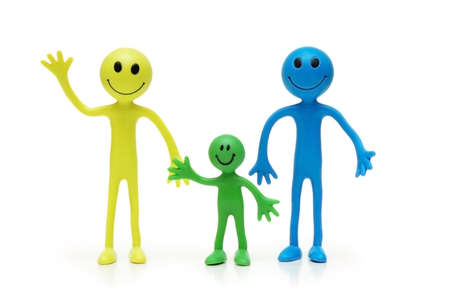 Happy family of Smilies Stock Photo