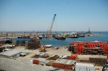 Industrial port with cranes and hardware - Baku, Azerbaijan Stock Photo - 628596