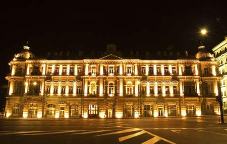Building nicely lit with illumination - Baku, Azerbaijan photo