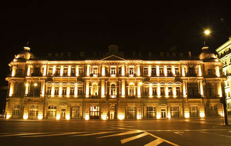 azerbaijan: Building nicely lit with illumination - Baku, Azerbaijan