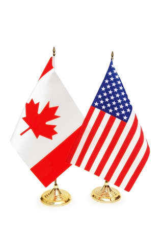 canada day: Usa and Canada flags isolated on white