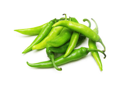 hot peppers: Green chili peppers isolated on white Stock Photo