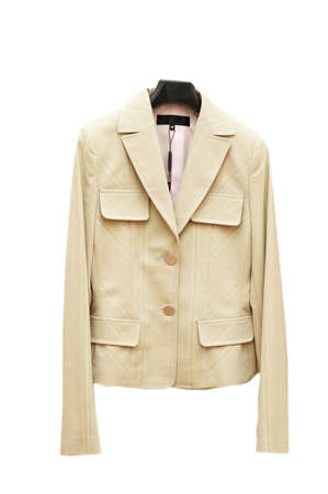 Light coloured jacket on hanger isolated on white Stock Photo - 632911