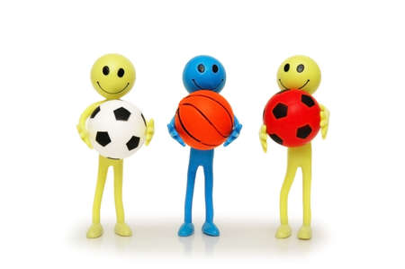 tabassum: Three smilies with footballs and basketballs isolated on white
