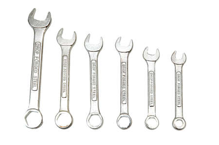 Spanners of various sizes isolated on the white photo