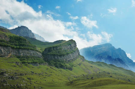 azerbaijan: Scenery with mountains and blue sky - Azerbaijan Stock Photo