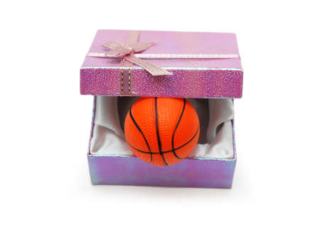 Basketball in gift box isolated on white photo