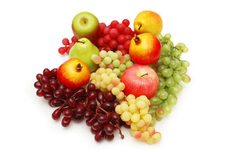 Selection of fruits isolated on the white photo