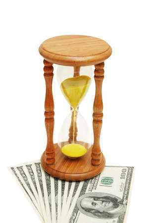 path to wealth: Time is money concept - hourglass and dollars