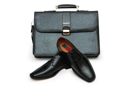 footware: Black briefcase and male shoes isolated on white  - more footware in my portfolio