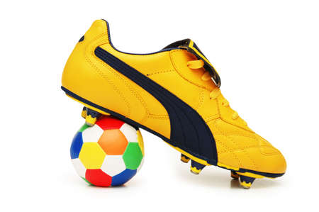 footware: Yellow soccer footwear and color football isolated on white  - more footware in my portfolio