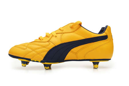 footware: Yellow football boots isolated on the white  - more footware in my portfolio