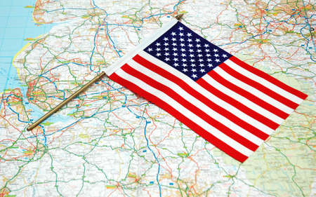 US flag over the map Stock Photo - 693460