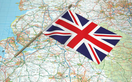 Flag of United Kingdom over the map photo
