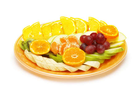 Fruit salad in the plate isolated on the white Stock Photo - 693451