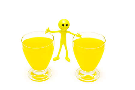 tabassum: Two glasses of orange juice and smilie isolated on white