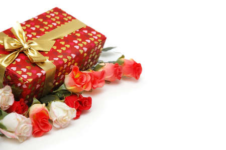 Gift box and roses isolated on white Stock Photo - 730314