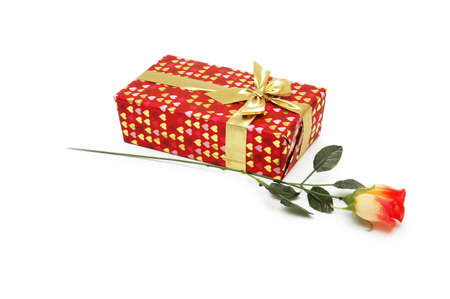 Rose and gift box isolated on white Stock Photo - 730308