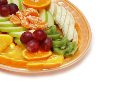 Plate with fruit salad isolated on white - space for your text photo
