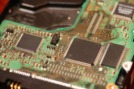 Close-up of computer mainboard photo